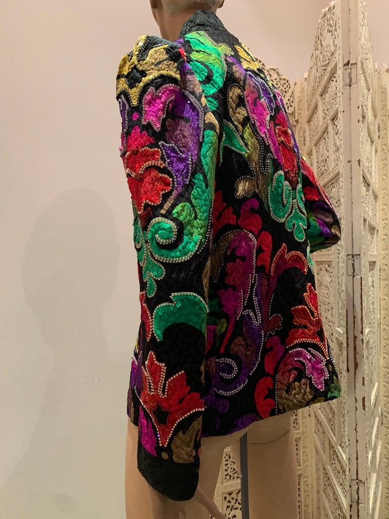 1980s Amen Wardy Colorful Sequin & Rhinestone Embellished Silk Matelasse Jacket For Sale 1