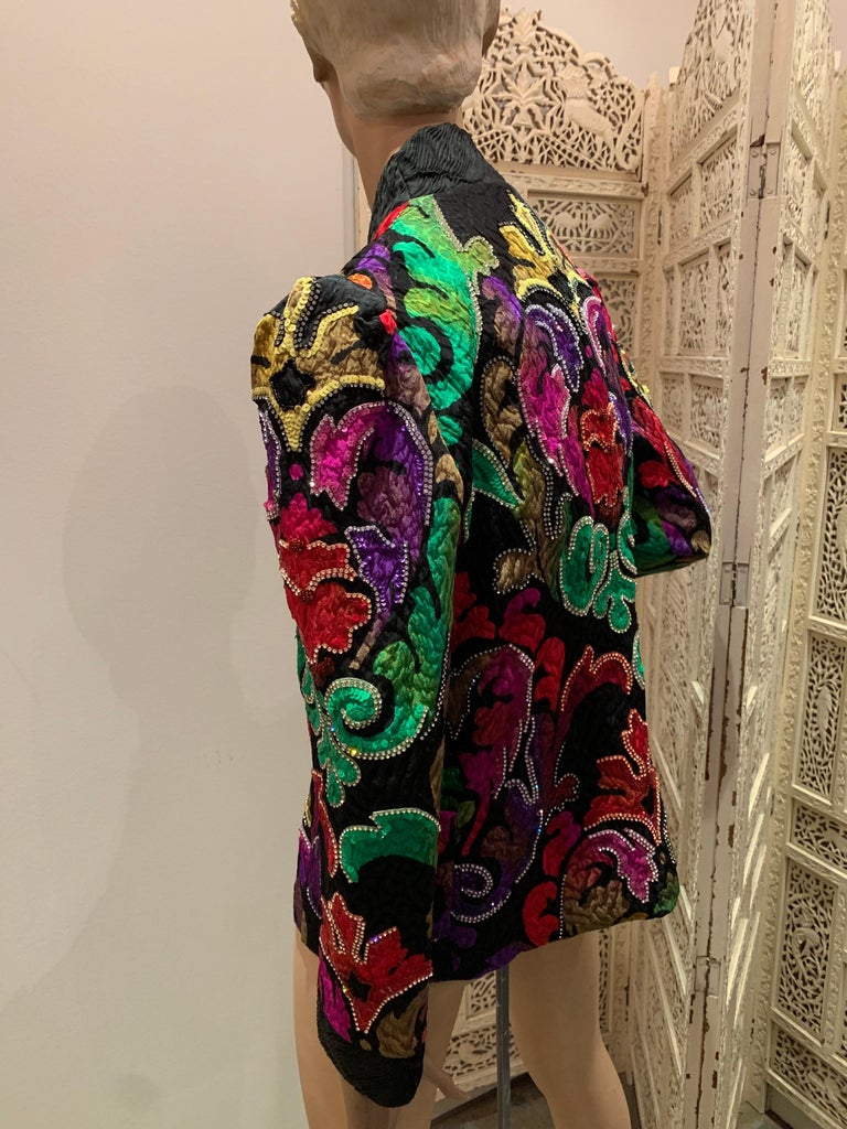 1980s Amen Wardy Colorful Sequin & Rhinestone Embellished Silk Matelasse Jacket For Sale 2