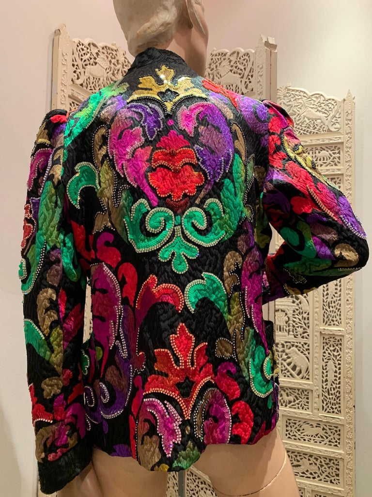 1980s Amen Wardy Colorful Sequin & Rhinestone Embellished Silk Matelasse Jacket For Sale 3