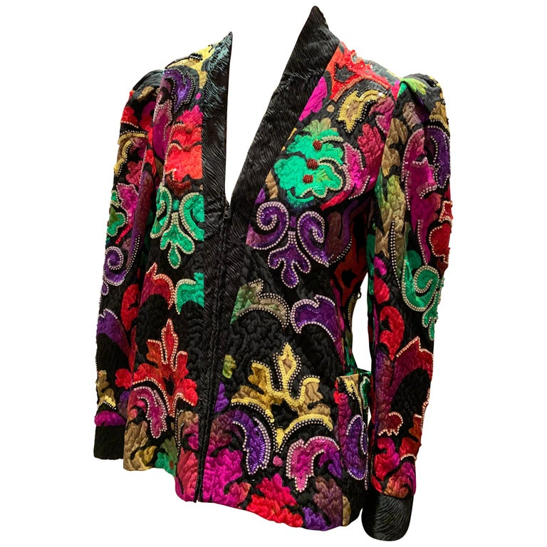 1980s Amen Wardy Colorful Sequin & Rhinestone Embellished Silk Matelasse Jacket For Sale