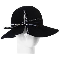 1980s Amen Wardy Rhinestone Bow Hat