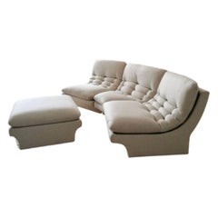 1980s American 3 Section Modular Sofa by Preview Furniture inc Ottoman