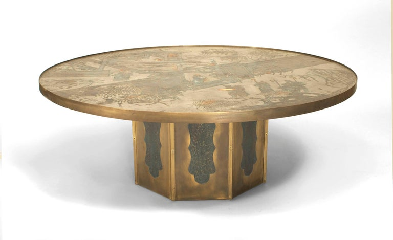 Signed by American father and son designers Philip and Kelvin LaVerne, this 1980's coffee table is composed of patinated bronze and features an octagonal base beneath a circular top etched with chinoiserie motifs.