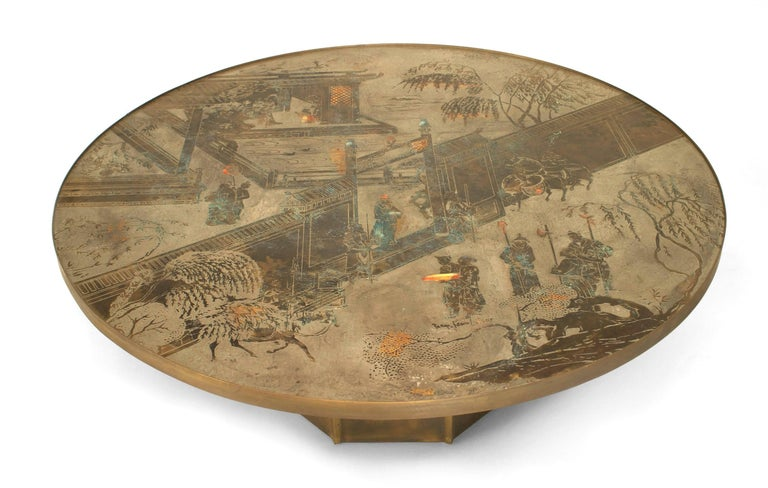 Post-Modern 1980's American Patinated Bronze Coffee Table by Philip and Kelvin LaVerne For Sale