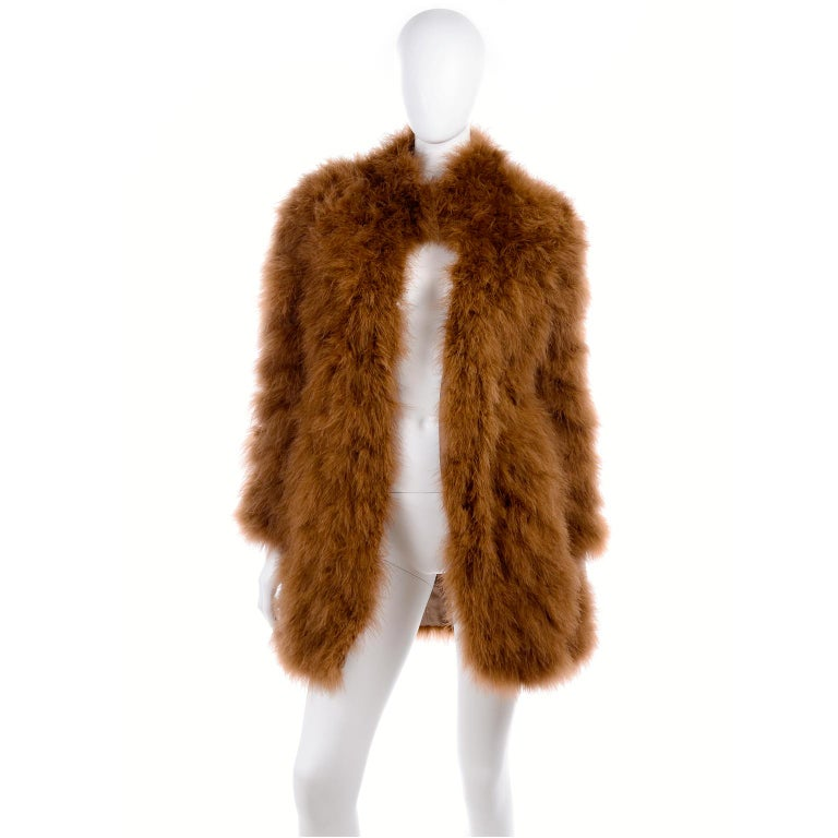 1980s Andre Laug Copper Brown Ostrich Feather Open Front Coat Jacket In Excellent Condition For Sale In Portland, OR