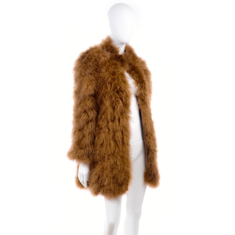 Women's 1980s Andre Laug Copper Brown Ostrich Feather Open Front Coat Jacket For Sale