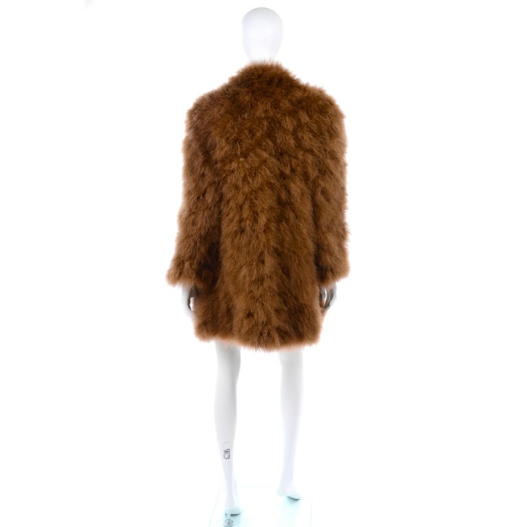 1980s Andre Laug Copper Brown Ostrich Feather Open Front Coat Jacket For Sale 1