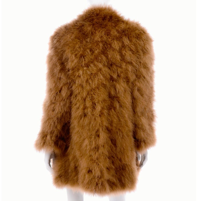 1980s Andre Laug Copper Brown Ostrich Feather Open Front Coat Jacket For Sale 2