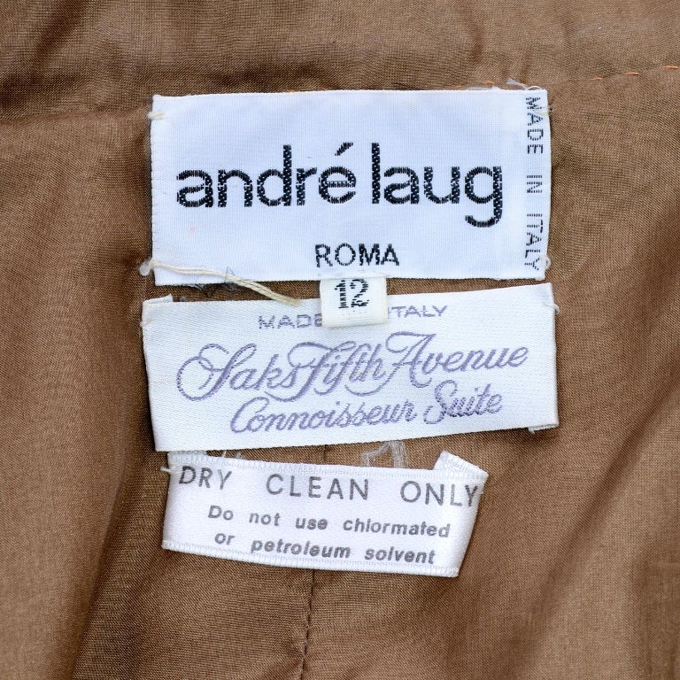 1980s Andre Laug Copper Brown Ostrich Feather Open Front Coat Jacket For Sale 4