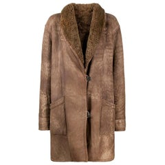 1980s A.N.G.E.L.O. Vintage Cult Brown Sheepskin Coat