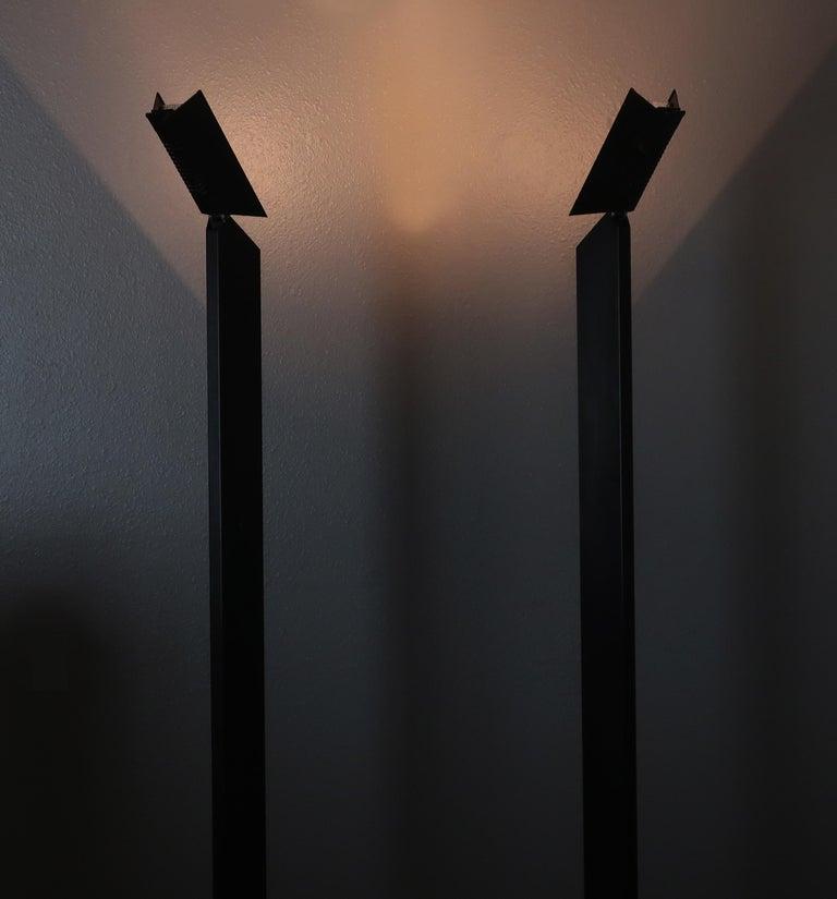 1980s Angular Black Floor Lamps for Pollux Skipper For Sale 3
