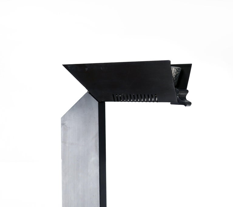 Aluminum 1980s Angular Black Floor Lamps for Pollux Skipper For Sale