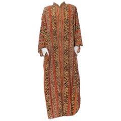 1980'S Animal Print Status Poly Blend Kaftan