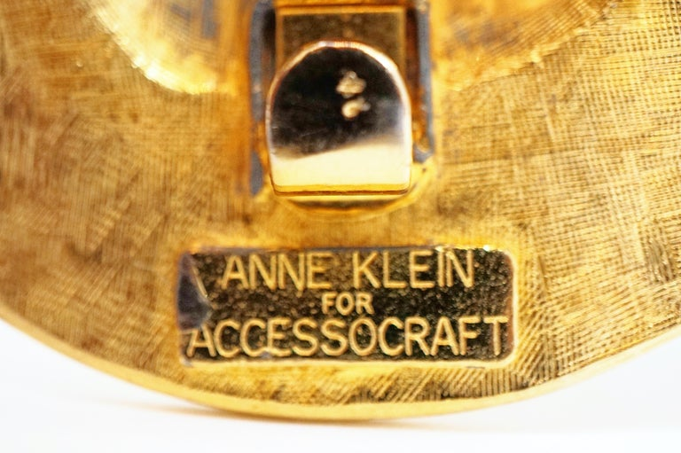1980s Anne Klein For Accessocraft Lion Head Stretch Belt with Pearls, Signed For Sale 9