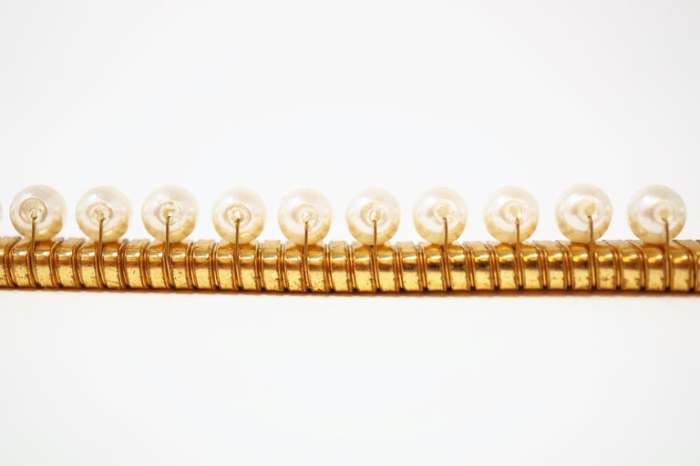 1980s Anne Klein For Accessocraft Lion Head Stretch Belt with Pearls, Signed For Sale 11