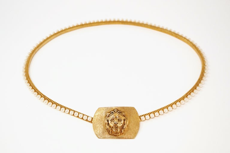 1980s Anne Klein For Accessocraft Lion Head Stretch Belt with Pearls, Signed For Sale 14