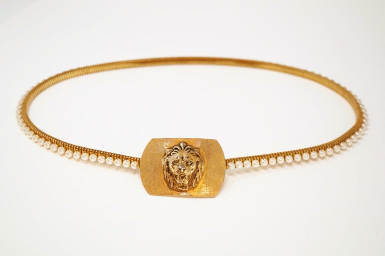 1980s Anne Klein For Accessocraft Lion Head Stretch Belt with Pearls, Signed For Sale 1