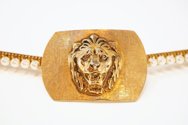 1980s Anne Klein For Accessocraft Lion Head Stretch Belt with Pearls, Signed For Sale 4