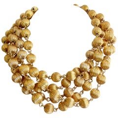 1980s Anne Klein Gold Beaded Multi-Strand Necklace