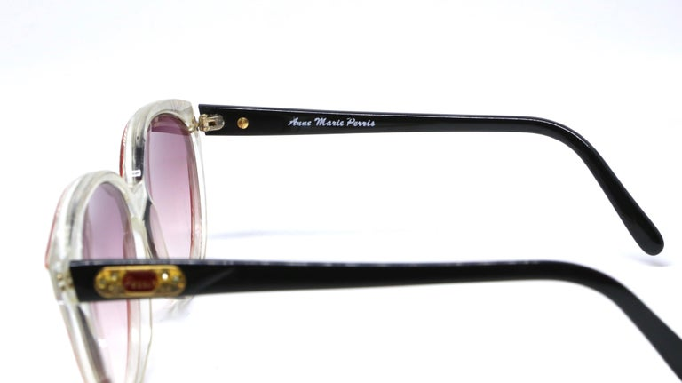 Women's or Men's 1980's ANNE MARIE PERRIS mother of pearl and plastic sunglasses For Sale