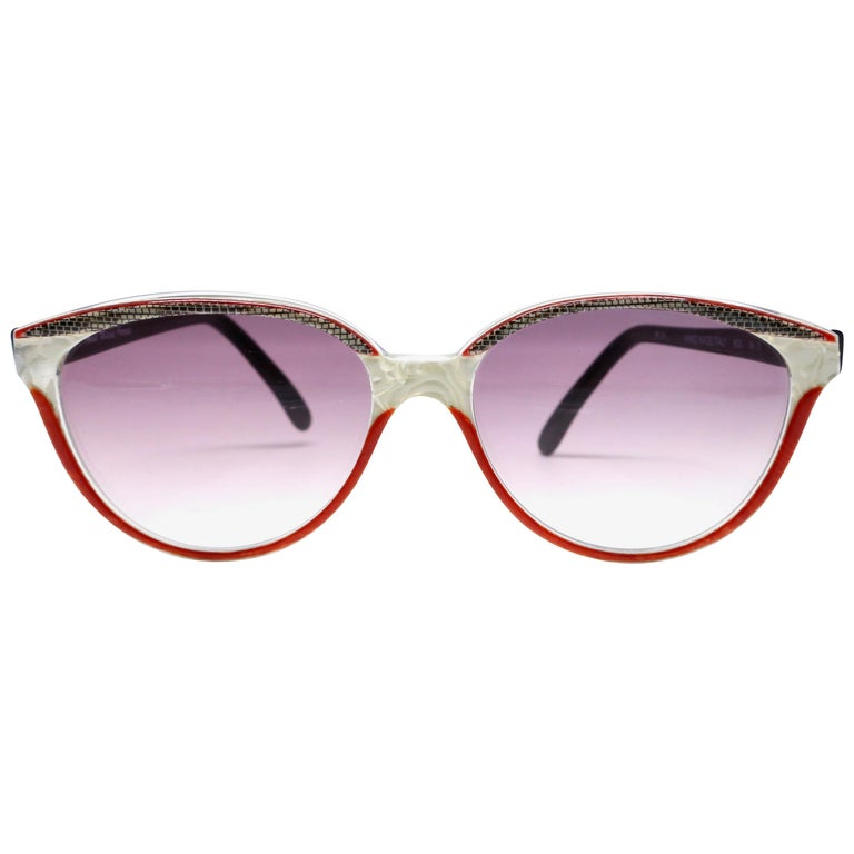 1980's ANNE MARIE PERRIS mother of pearl and plastic sunglasses For Sale
