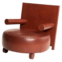 1980s Antonio Citterio for B&B Italia Brown Leather Rounded Armchair