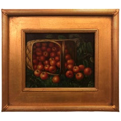 1980s Apple Framed and Signed Oil on Canvas Painting