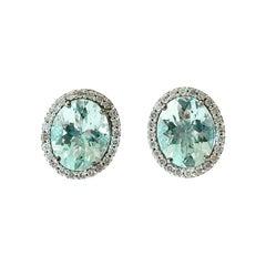 1980s Aquamarine Diamond 18k White Gold Cluster Stud Earrings