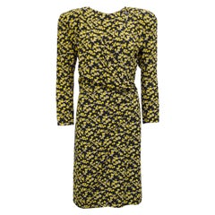1980s Armani Navy and Yellow Floral Chintz Dress