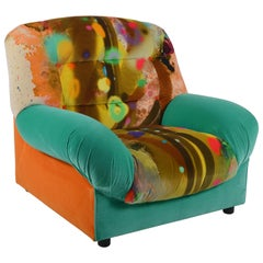 1980s Armchair, Belgian in Graffiti Velvet