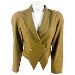 1980s Army Green Asymmetrical Wool Jacket