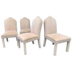 1980s Art Deco Revival Upholstered Parsons Dining Chairs, Milo Baughman Style