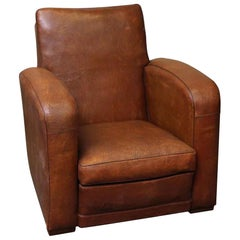 1980s Art Deco Style French Leather Club Chair