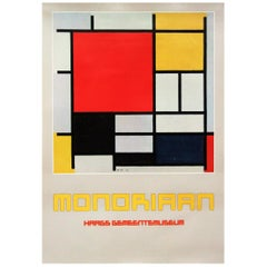 1980s Art Exhibition Poster for Piet Mondrian Postmodernist Pop Art Design