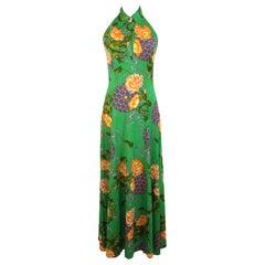 1980s Artisanal Green Orange Sleeveless Floral Long Cocktail Dress
