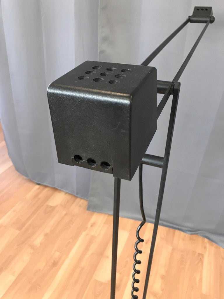 1980s Artup Minimalist Black Metal Articulated Floor Lamp For Sale 3