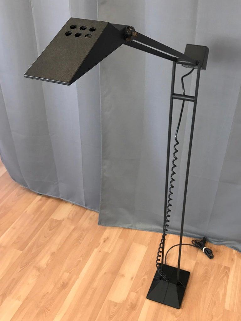 American 1980s Artup Minimalist Black Metal Articulated Floor Lamp For Sale