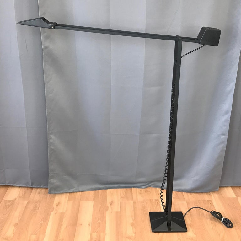 1980s Artup Minimalist Black Metal Articulated Floor Lamp In Good Condition For Sale In San Francisco, CA