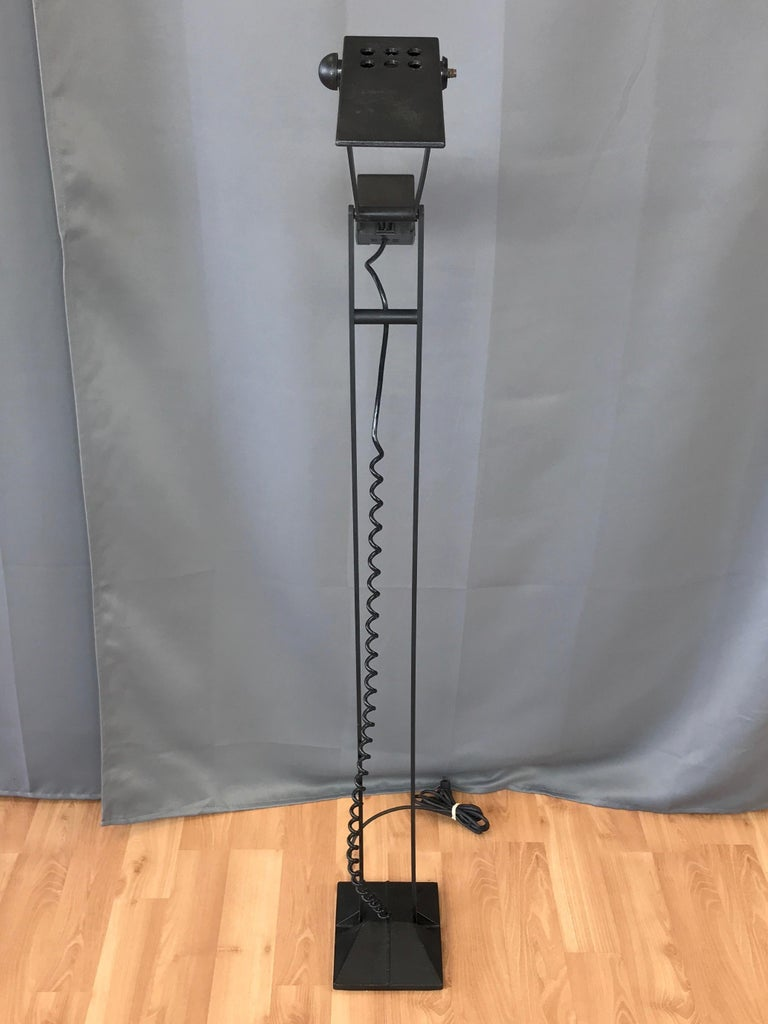Late 20th Century 1980s Artup Minimalist Black Metal Articulated Floor Lamp For Sale