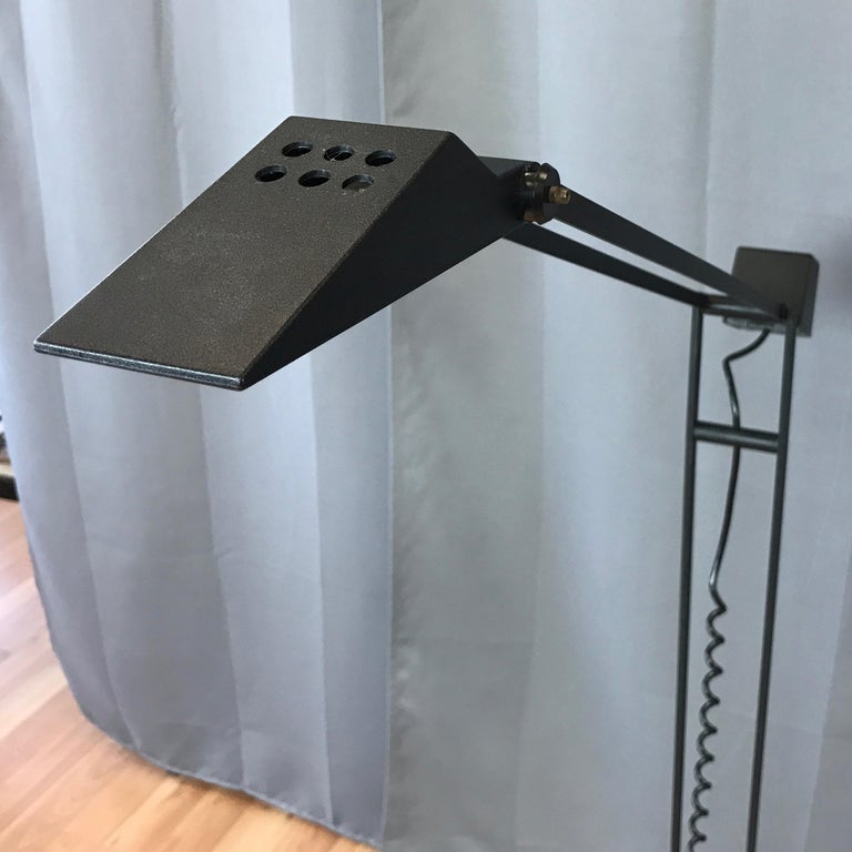 Steel 1980s Artup Minimalist Black Metal Articulated Floor Lamp For Sale