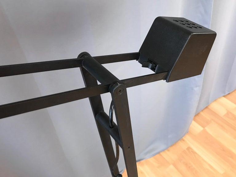 1980s Artup Minimalist Black Metal Articulated Floor Lamp For Sale 1