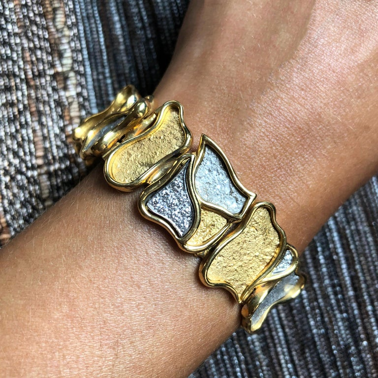 Women's or Men's 1980s Augustin Julia Plana Diamond and Gold Bracelet For Sale