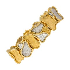 1980s Augustin Julia Plana Diamond and Gold Bracelet