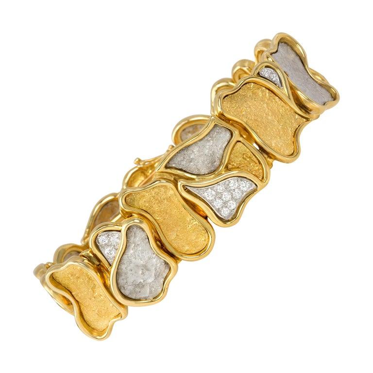 1980s Augustin Julia Plana Diamond and Gold Bracelet For Sale