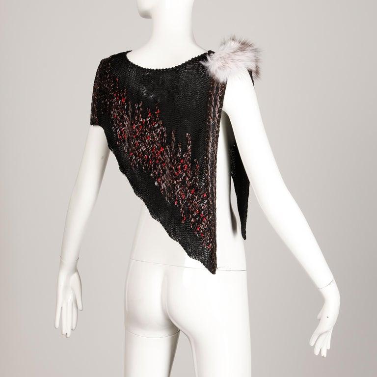 Black 1980s Avant Garde Vintage Knit Top with Fox Fur Detail For Sale