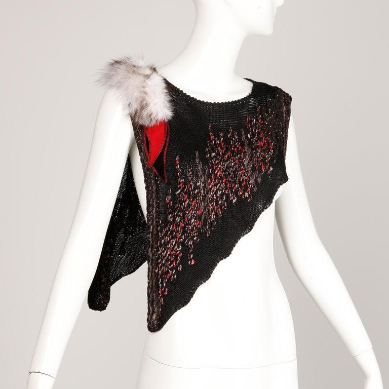 Women's 1980s Avant Garde Vintage Knit Top with Fox Fur Detail For Sale