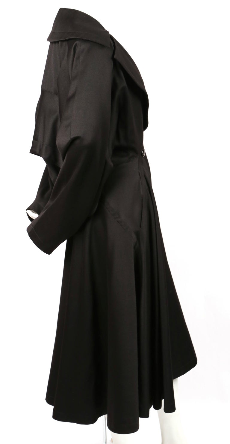 1980's AZZEDINE ALAIA black gabardine wool maxi coat with full skirt In Good Condition For Sale In San Fransisco, CA