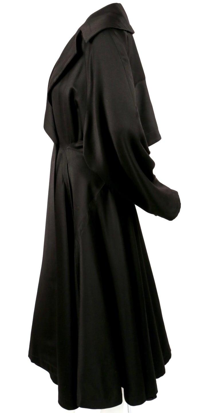 Women's or Men's 1980's AZZEDINE ALAIA black gabardine wool maxi coat with full skirt For Sale