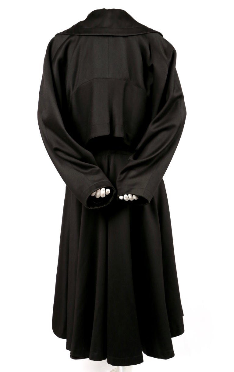 1980's AZZEDINE ALAIA black gabardine wool maxi coat with full skirt For Sale 1