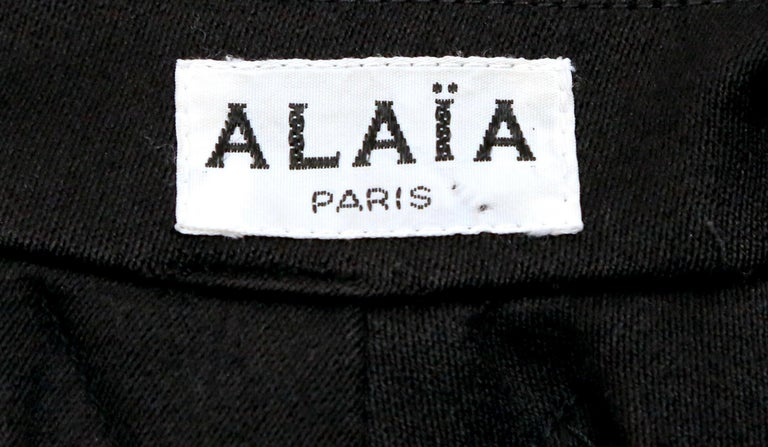 1980's AZZEDINE ALAIA black gabardine wool maxi coat with full skirt For Sale 2